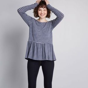 Soft  Muted Blue Stripe Peplum Top by Modcloth